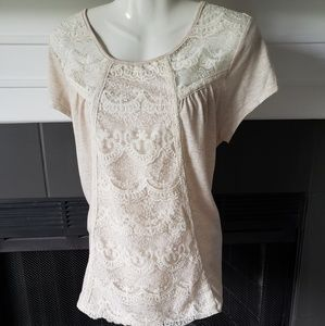 Beige Lace Short Sleeves Top XL